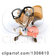 Clipart Of A 3d Bespectacled Doctor Or Veterinarian Squirrel Looking Upwards Holding A Piggy Bank And Thumb Down Royalty Free Illustration