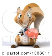 Clipart Of A 3d Doctor Or Veterinarian Squirrel Holding A Piggy Bank Royalty Free Illustration by Julos