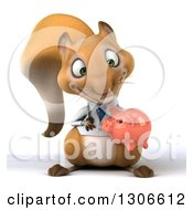 Clipart Of A 3d Doctor Or Veterinarian Squirrel Holding And Looking Down At A Piggy Bank Royalty Free Illustration