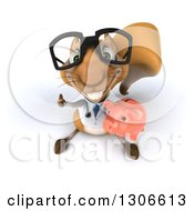 Clipart Of A 3d Bespectacled Doctor Or Veterinarian Squirrel Looking Upwards Holding A Piggy Bank And Thumb Up Royalty Free Illustration