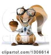 Clipart Of A 3d Bespectacled Doctor Or Veterinarian Squirrel Holding An Acorn Royalty Free Illustration