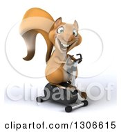 Clipart Of A 3d Happy Squirrel Facing Slightly Right And Exercising On A Spin Bike Royalty Free Illustration