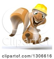 Clipart Of A 3d Contractor Squirrel Wearing A Hardhat Facing Slightly Right Jumping And Giving A Thumb Up Royalty Free Illustration by Julos