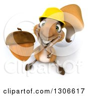Clipart Of A 3d Contractor Squirrel Wearing A Hardhat And Holding Up An Acorn Royalty Free Illustration by Julos