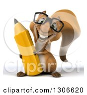 Clipart Of A 3d Bespectacled Squirrel Holding With A Giant Pencil Royalty Free Illustration
