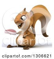 Clipart Of A 3d Squirrel Facing Slightly Left And Holding A Beef Steak Royalty Free Illustration