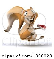 Clipart Of A 3d Squirrel Facing Right Hopping And Holding A Beef Steak Royalty Free Illustration