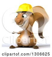 Clipart Of A 3d Contractor Squirrel Wearing A Hardhat And Presenting To The Left Royalty Free Illustration by Julos
