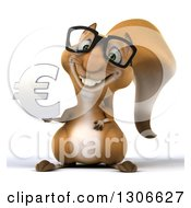 Clipart Of A 3d Bespectacled Squirrel Holding A Euro Currency Symbol Royalty Free Illustration