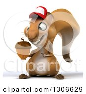 Clipart Of A 3d Squirrel Wearing A Baseball Cap And Holding And Pointing To An Acorn Royalty Free Illustration