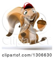 Clipart Of A 3d Squirrel Wearing A Baseball Cap Jumping Giving A Thumb Up And Holding An Acorn Royalty Free Illustration