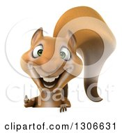 Clipart Of A 3d Squirrel Giving A Thumb Up Over A Sign Royalty Free Illustration