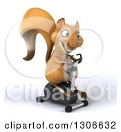 Clipart Of A 3d Squirrel Facing Slightly Right And Exercising On A Spin Bike Royalty Free Illustration