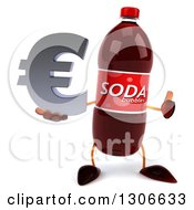 Clipart Of A 3d Soda Bottle Character Giving A Thumb Up And Holding An Email Arobase At Symbol Royalty Free Illustration