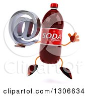 Clipart Of A 3d Soda Bottle Character Jumping And Holding An Email Arobase At Symbol Royalty Free Illustration