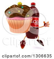 Clipart Of A 3d Soda Bottle Character Facing Slightly Right Jumping And Holding A Chocolate Frosted Cupcake Royalty Free Illustration