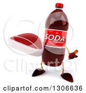 Clipart Of A 3d Soda Bottle Character Shrugging And Holding A Beef Steak Royalty Free Illustration
