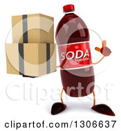 Clipart Of A 3d Soda Bottle Character Holding Up A Finger And Boxes Royalty Free Illustration