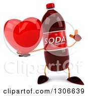 Clipart Of A 3d Soda Bottle Character Holding Up A Finger And A Heart Royalty Free Illustration