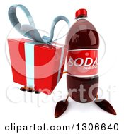 Clipart Of A 3d Soda Bottle Character Holding Up A Gift Royalty Free Illustration