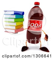 Clipart Of A 3d Soda Bottle Character Holding A Stack Of Books Royalty Free Illustration