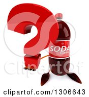 Clipart Of A 3d Soda Bottle Character Holding Up A Question Mark Royalty Free Illustration