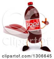 Clipart Of A 3d Soda Bottle Character Holding Up A Finger And A Beef Steak Royalty Free Illustration