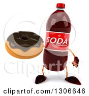 Clipart Of A 3d Soda Bottle Character Holding A Chocolate Frosted Donut Royalty Free Illustration by Julos