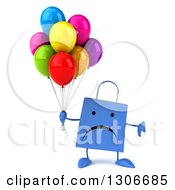 Clipart Of A 3d Unhappy Blue Shopping Or Gift Bag Character Holding A Thumb Down And Party Balloons Royalty Free Illustration