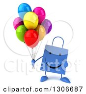 Clipart Of A 3d Happy Blue Shopping Or Gift Bag Character Holding And Pointing To Party Balloons Royalty Free Illustration