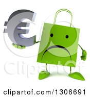 Clipart Of A 3d Unhappy Green Shopping Or Gift Bag Character Holding A Euro Currency Symbol Royalty Free Illustration