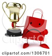 Clipart Of A 3d Unhappy Red Shopping Or Gift Bag Character Holding And Pointing To A Trophy Royalty Free Illustration