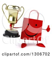 Clipart Of A 3d Happy Red Shopping Or Gift Bag Character Holding A Thumb Up And A Trophy Royalty Free Illustration