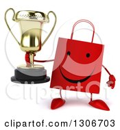 Clipart Of A 3d Happy Red Shopping Or Gift Bag Character Holding A Trophy Royalty Free Illustration