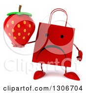 Clipart Of A 3d Unhappy Red Shopping Or Gift Bag Character Holding A Strawberry Royalty Free Illustration