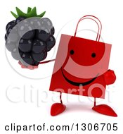 Clipart Of A 3d Happy Red Shopping Or Gift Bag Character Holding And Pointing To A Blackberry Royalty Free Illustration