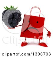Clipart Of A 3d Unhappy Red Shopping Or Gift Bag Character Holding A Blackberry Royalty Free Illustration