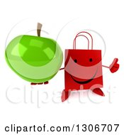 Clipart Of A 3d Happy Red Shopping Or Gift Bag Character Holding A Thumb Up And A Green Apple Royalty Free Illustration