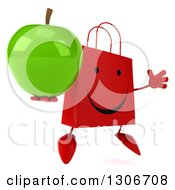 Clipart Of A 3d Happy Red Shopping Or Gift Bag Character Facing Slightly Right Jumping And A Green Apple Royalty Free Illustration