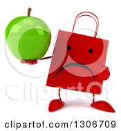 Clipart Of A 3d Unhappy Red Shopping Or Gift Bag Character Holding And Pointing To A Green Apple Royalty Free Illustration