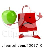 Clipart Of A 3d Unhappy Red Shopping Or Gift Bag Character Holding Up A Finger And A Green Apple Royalty Free Illustration