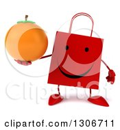 Clipart Of A 3d Happy Red Shopping Or Gift Bag Character Holding An Orange Royalty Free Illustration