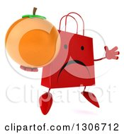 Clipart Of A 3d Unhappy Red Shopping Or Gift Bag Character Facing Slightly Right Jumping And Holding An Orange Royalty Free Illustration