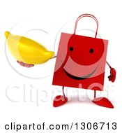 Clipart Of A 3d Happy Red Shopping Or Gift Bag Character Holding A Banana Royalty Free Illustration