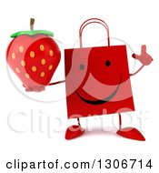 Clipart Of A 3d Happy Red Shopping Or Gift Bag Character Holding Up A Finger And Strawberry Royalty Free Illustration