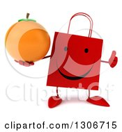 Clipart Of A 3d Happy Red Shopping Or Gift Bag Character Giving A Thumb Up And Holding An Orange Royalty Free Illustration