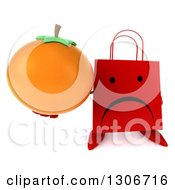 Clipart Of A 3d Unhappy Red Shopping Or Gift Bag Character Holding Up An Orange Royalty Free Illustration