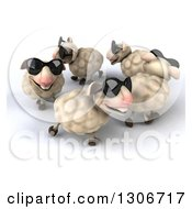 Clipart Of A 3d Flock Of Sheep Wearing Sunglasses And Walking In A Circle Royalty Free Illustration