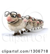 Clipart Of A 3d Flock Of Sheep Wearing Glasses And Walking In A Line Royalty Free Illustration