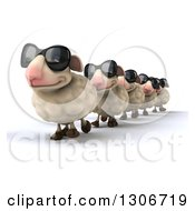 Clipart Of A 3d Flock Of Sheep Wearing Sunglasses And Walking In A Line Royalty Free Illustration